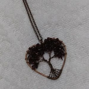 Natural stone copper heart necklace